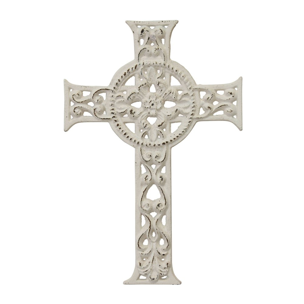 Image of Decorative Distressed Cast Iron Cross Wall Art Off White - Stonebriar Collection