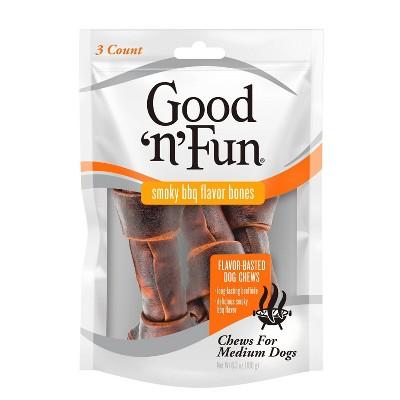 Good 'n' Fun BBQ Bone Rawhide Dog Treats - 3ct