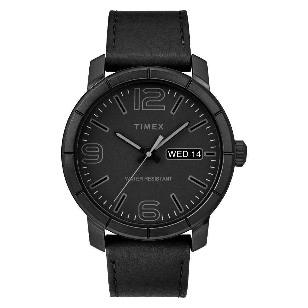 Image of Men's Timex Mod 44mm Watch with Leather Strap - Black TW2R64300JT, Size: Small