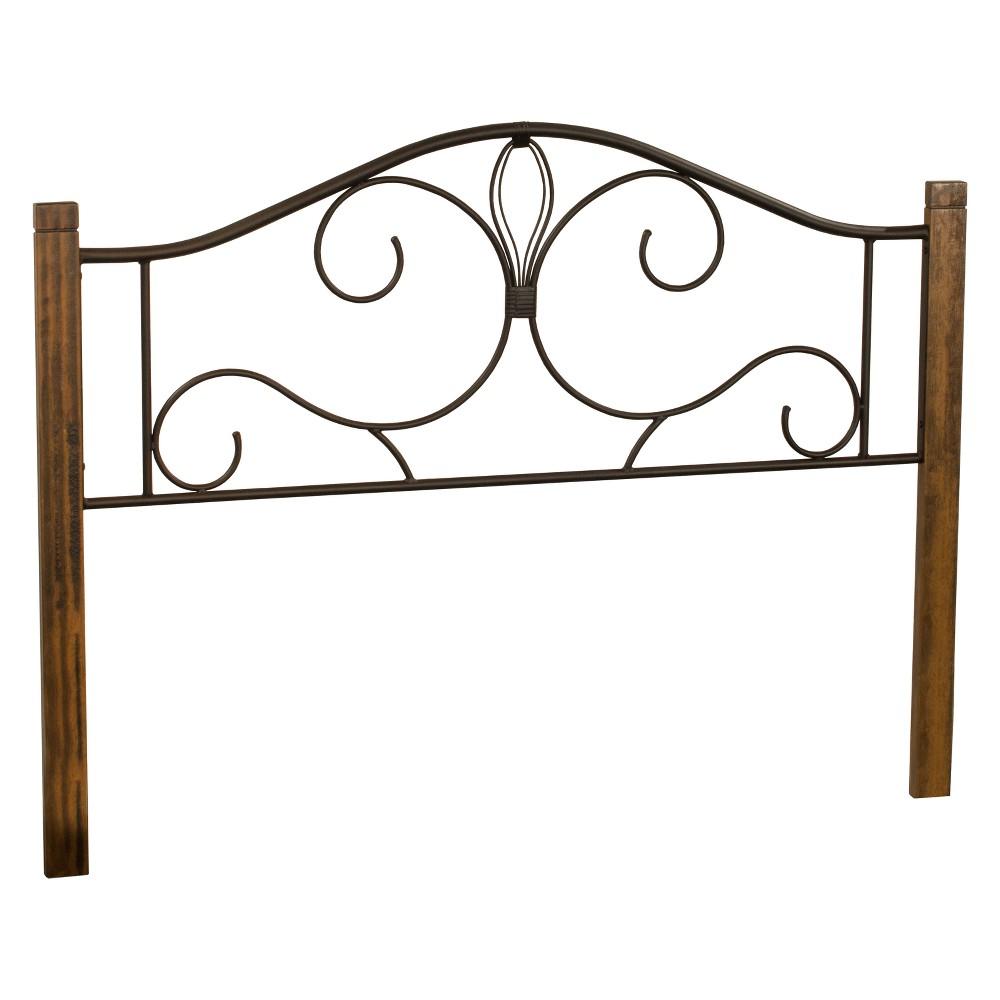 Destin Metal/Wood Headboard Twin Textured Black/Brushed Oak Wood - Hillsdale Furniture