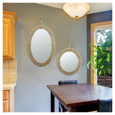 Round Decorative Wall Mirror With Loop Hanger Rope Ckk Home Decor