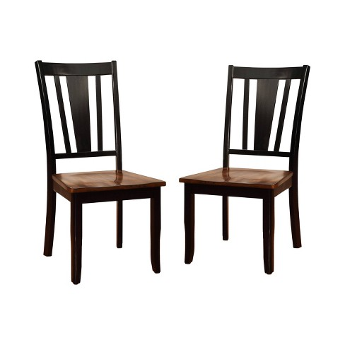 Set of 2 EarltonStriped Cutout Back Side Chair Cherry/Black - Sun & Pine - image 1 of 3