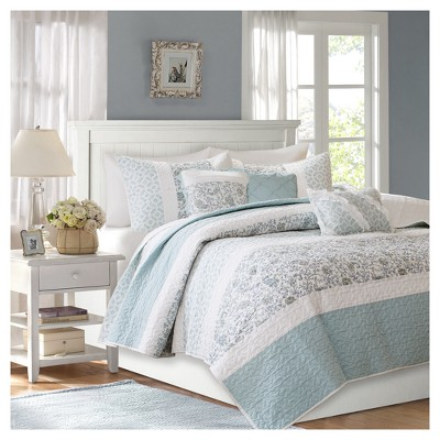 Blue Stella Printed Quilt Set (Full/Queen)6pc