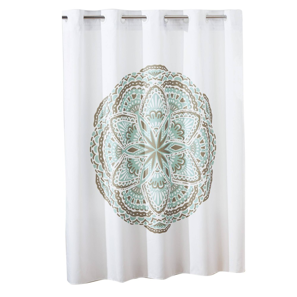 Image of Henna Medallion Shower Curtain with Liner Spa Green/White - Hookless