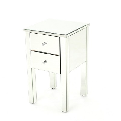 Amara 2 Drawer Side Table Mirror Finished - Christopher Knight Home