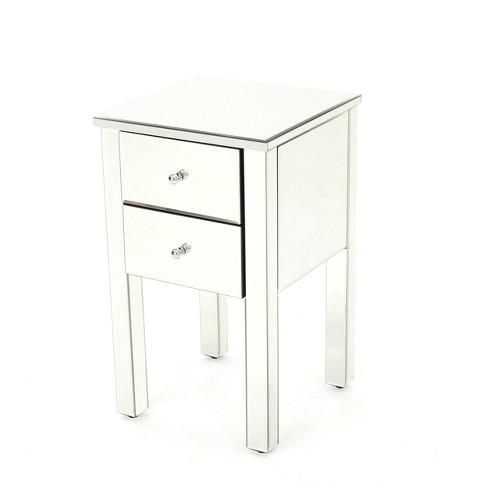 Amara 2 Drawer Side Table Mirror, Target Mirrored Furniture