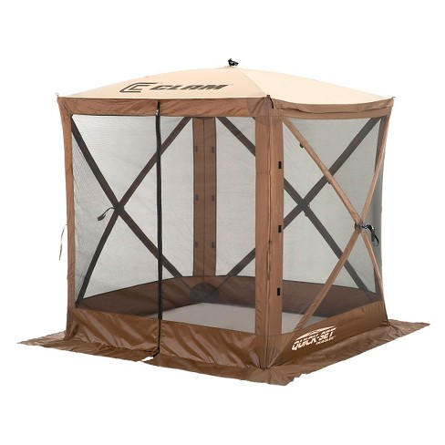 Clam Outdoors Quick-Set® Traveler™ Screen Shelter - 4 Sided with Wind Panel Flaps (Brown/Tan) - image 1 of 3