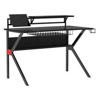 PVC Coated Ergonomic Metal Frame Gaming Desk with K Shape Legs Black - The Urban Port
