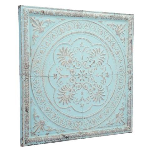 """ZM Home 31"""" Vintage Square Medallion Distressed Blue - image 1 of 2"""