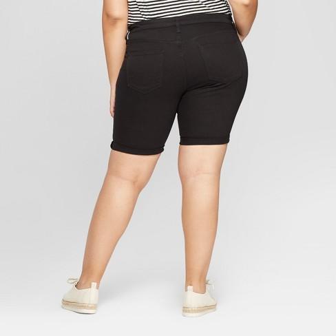 2613bafc2b2a8 Women s Plus Size Roll Cuff Bermuda Jean Shorts - Universal Thread™ Black    Target