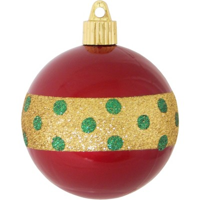 "Christmas by Krebs 4ct Candy Red and Gold Dotted Band Shatterproof Shiny Christmas Ball Ornaments 3.25"" (80mm)"