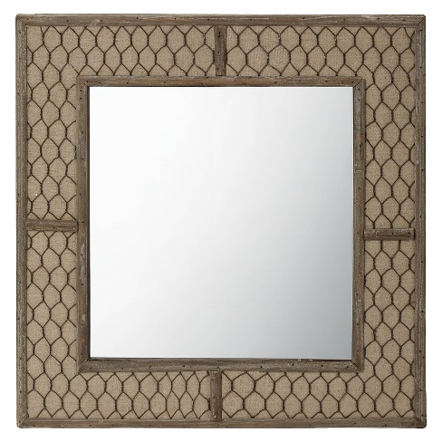 Square Chicken Wire Decorative Wall Mirror Brown - Lazy Susan : Target