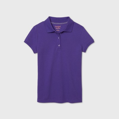 Girls' Short Sleeve Stretch Pique Uniform Polo Shirt - Cat & Jack™ Purple