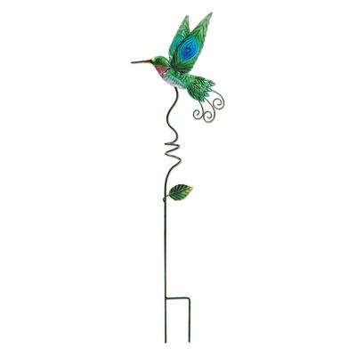 31  Tall Metal Hummingbird Stake - Green And Blue - Sunset Vista Design