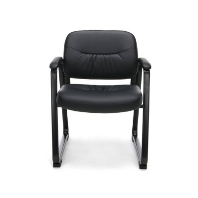Bonded Leather Executive Side Chair with Sled Base Black - OFM