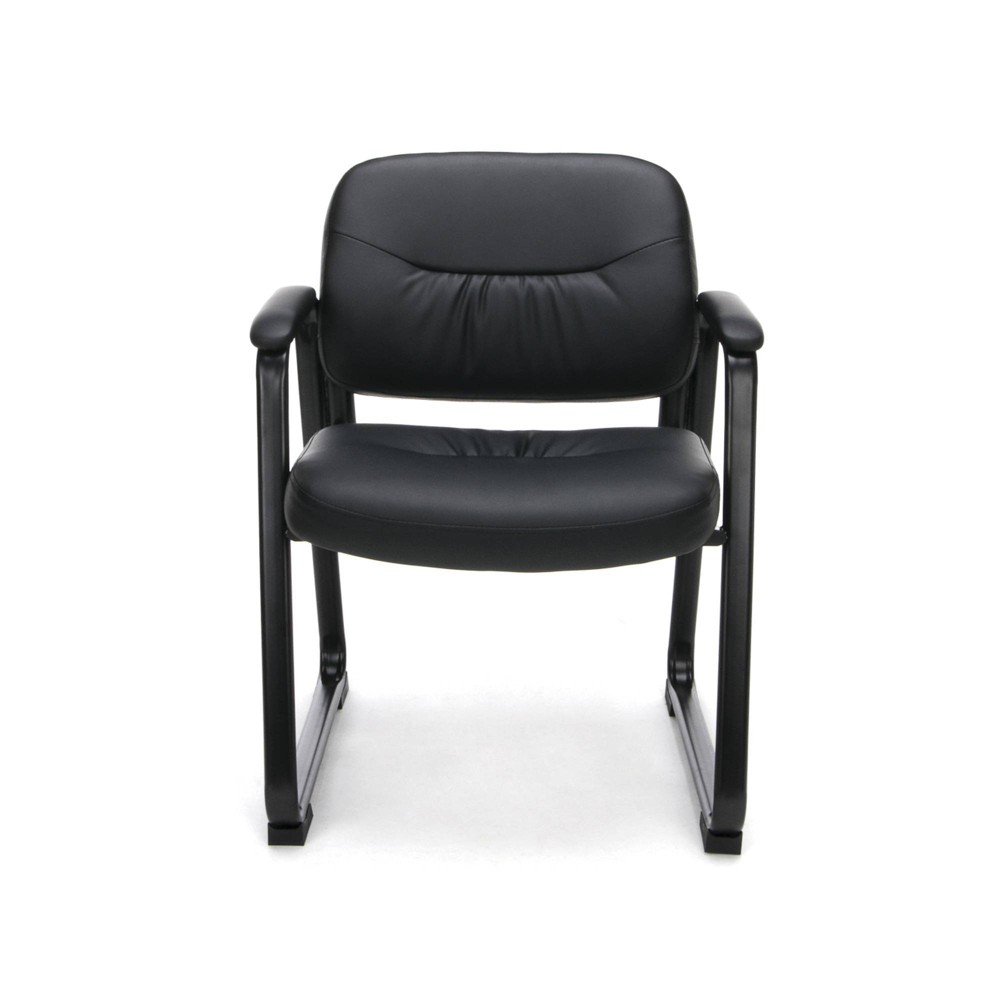 Incredible Bonded Leather Executive Side Chair With Sled Base Black Ofm Pdpeps Interior Chair Design Pdpepsorg
