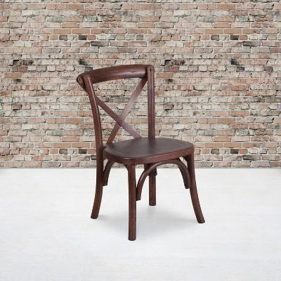Flash Furniture HERCULES Series Stackable Kids Mahogany Wood Cross Back Chair