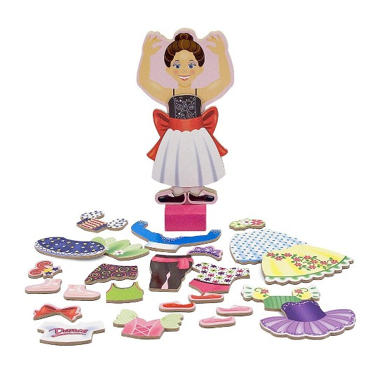 Melissa & Doug Deluxe Nina Ballerina Magnetic Dress-Up Wooden Doll With 27pc of Clothing, Women's image number null