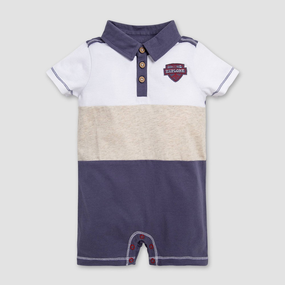 Image of Burt's Bees Baby Baby Boys' Adventure Polo Shortalls - Blue/Off White 0-3M, Boy's, Size: Small