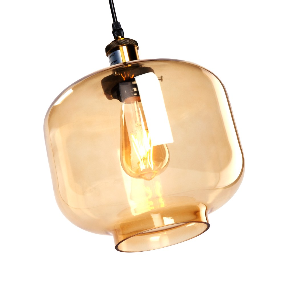 Cian Colored Glass Pendant Lamp - Amber - Aiden Lane