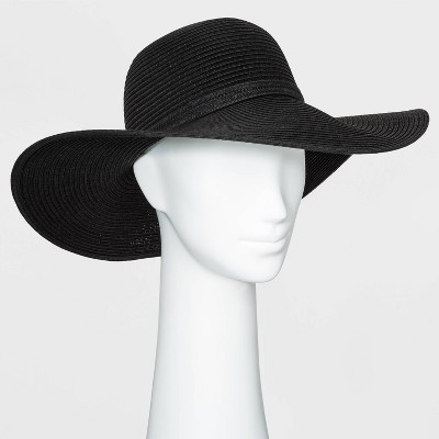 Women's Packable Essential Straw Floppy Hat - A New Day™ Black