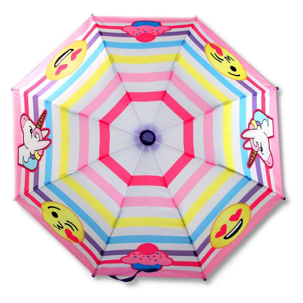 Image of Girls' Emoji Stick Umbrella, Pink