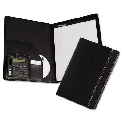 Samsill Slimline Padfolio Leather-Look/Faux Reptile Trim Writing Pad Black 71220