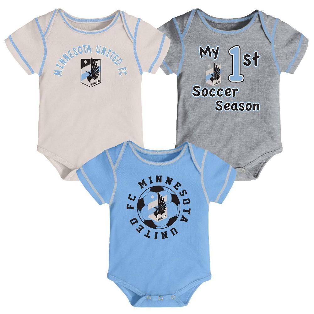 Mls Minnesota United Fc Baby 3pk Bodysuit Set 12m