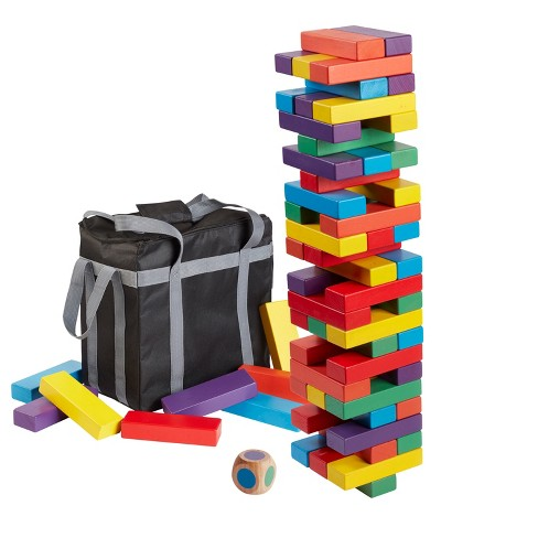"ECR4Kids Risky Rainbow Giant Tumble Tower, Wood Stacking Block Game with Colorful Dice and Storage Bag, Just Right 20"" Tall (54-Piece Set) - image 1 of 3"