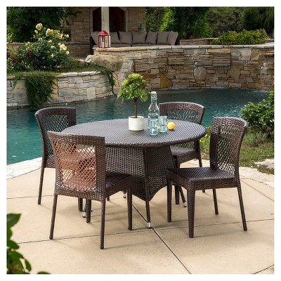 Bertha 5pc Wicker Patio Dining Set - Multibrown - Christopher Knight Home