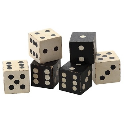 Square Hand Carved Mango Wood Dice Set of 6 - Black/White (2 )