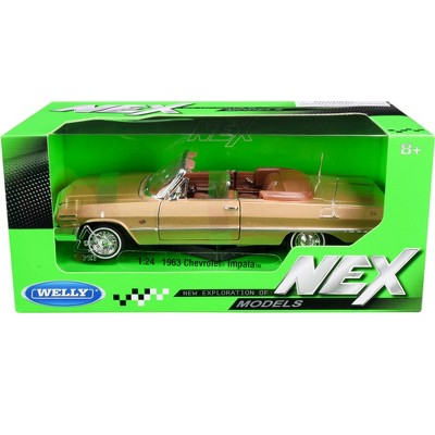 """1963 Chevrolet Impala Convertible Gold """"NEX Models"""" 1/24 Diecast Model Car by Welly"""