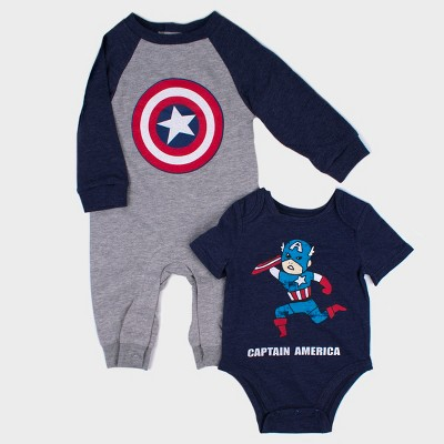 Baby Boys' Disney Marvel Captain America 2pk Long Sleeve Romper and Short Sleeve Bodysuit - Gray Newborn