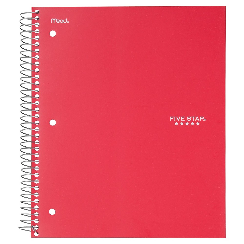 Image of Five Star 5 Subject College Ruled Spiral Notebook - Red