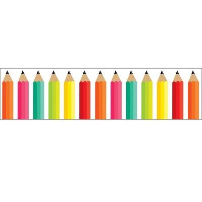 Schoolgirl Style 12pc 36' Black, White and Stylish Brights - Pencils Bulletin Board Borders