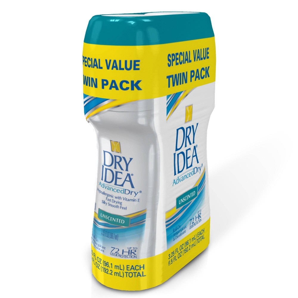 Image of Dry Idea 2pk. Roll-On Unscented Antiperspirant and Deodorant - 3.25oz.