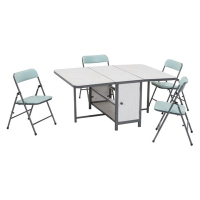 5pc Kid's Fold - N - Store Table And Chair Set White/ Teal Blue - Cosco