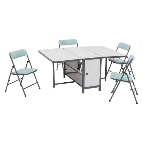 5pc Kid S Fold N Store Table And Chair Set White Teal Blue