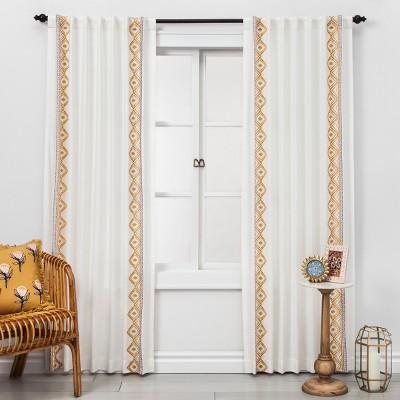 "84""x50"" Global Border Sheer Curtain Panel White/Yellow - Opalhouse™"
