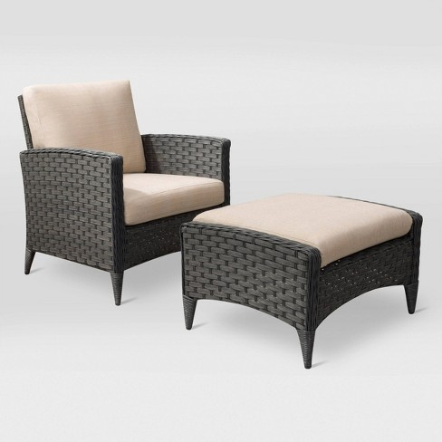 Parkview 2pc Chair and Stool Patio Set - Charcoal - CorLiving - image 1 of 8