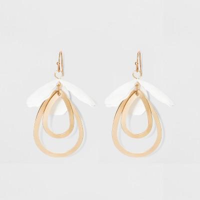 Drop Petal and Open Teardrop Earrings - A New Day™ White