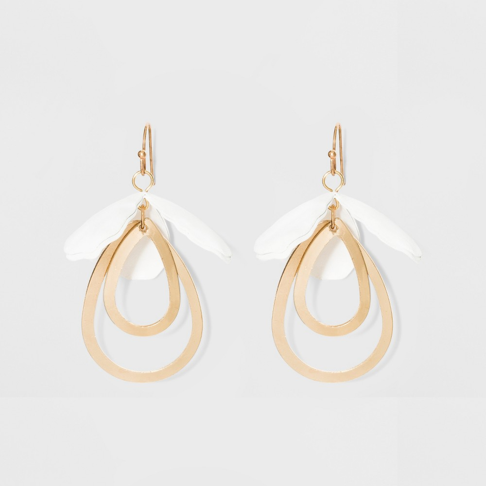 Image of Drop Petal and Open Teardrop Earrings - A New Day White