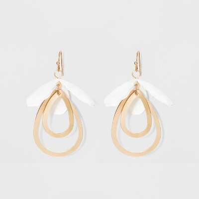 view Drop Petal and Open Teardrop Earrings - A New Day White on target.com. Opens in a new tab.