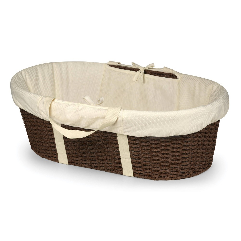 Badger Basket Wicker-Look Woven Baby Moses Basket with Bedding - Espresso Brown Badger Basket's elegant Wicker-Look Woven Baby Moses Basket allows your newborn to snooze blissfully close to you anywhere day or night. Everything you need is in the box - basket, foam pad, and bedding. No tools needed to assemble. Sturdy construction. Color: Espresso Brown. Gender: Unisex.