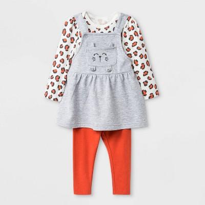 Baby Girls' 3pc Skirtall Top and Bottom Set - Cat & Jack™ Gray/White/Orange 6-9M