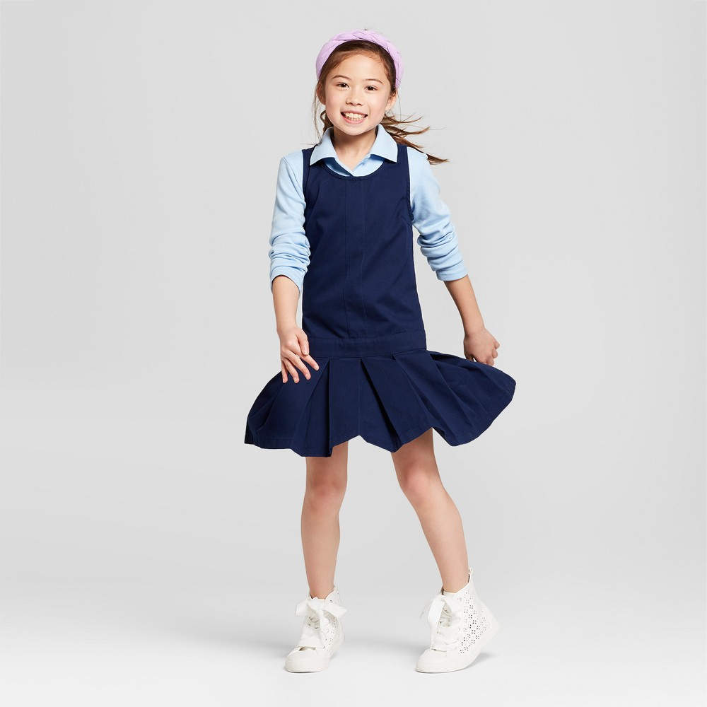 Girls' Uniform Woven Jumper - Cat & Jack Navy (Blue) 6X