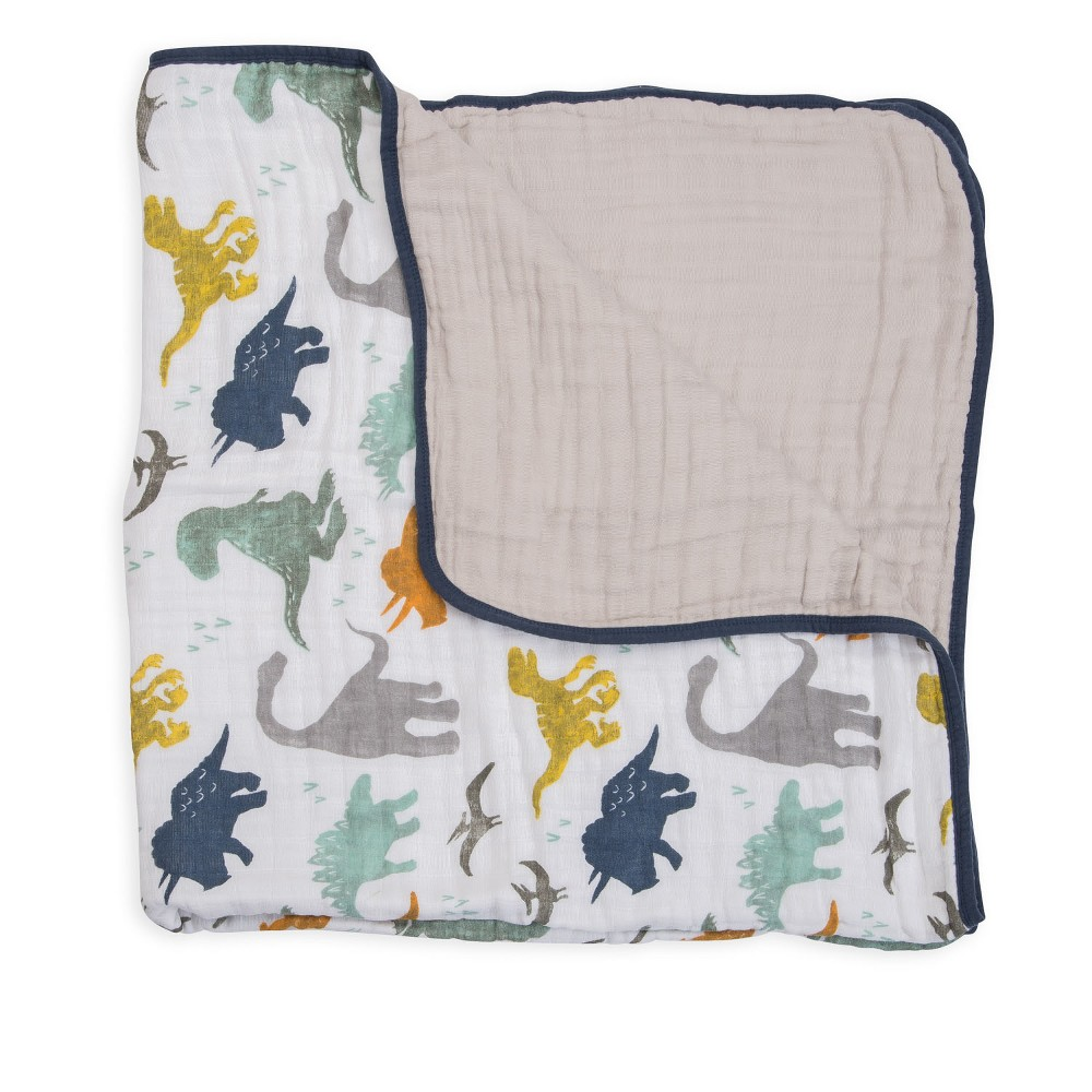 Image of Little Unicorn Cotton Muslin Quilt - Dino Friends, Multi-Colored