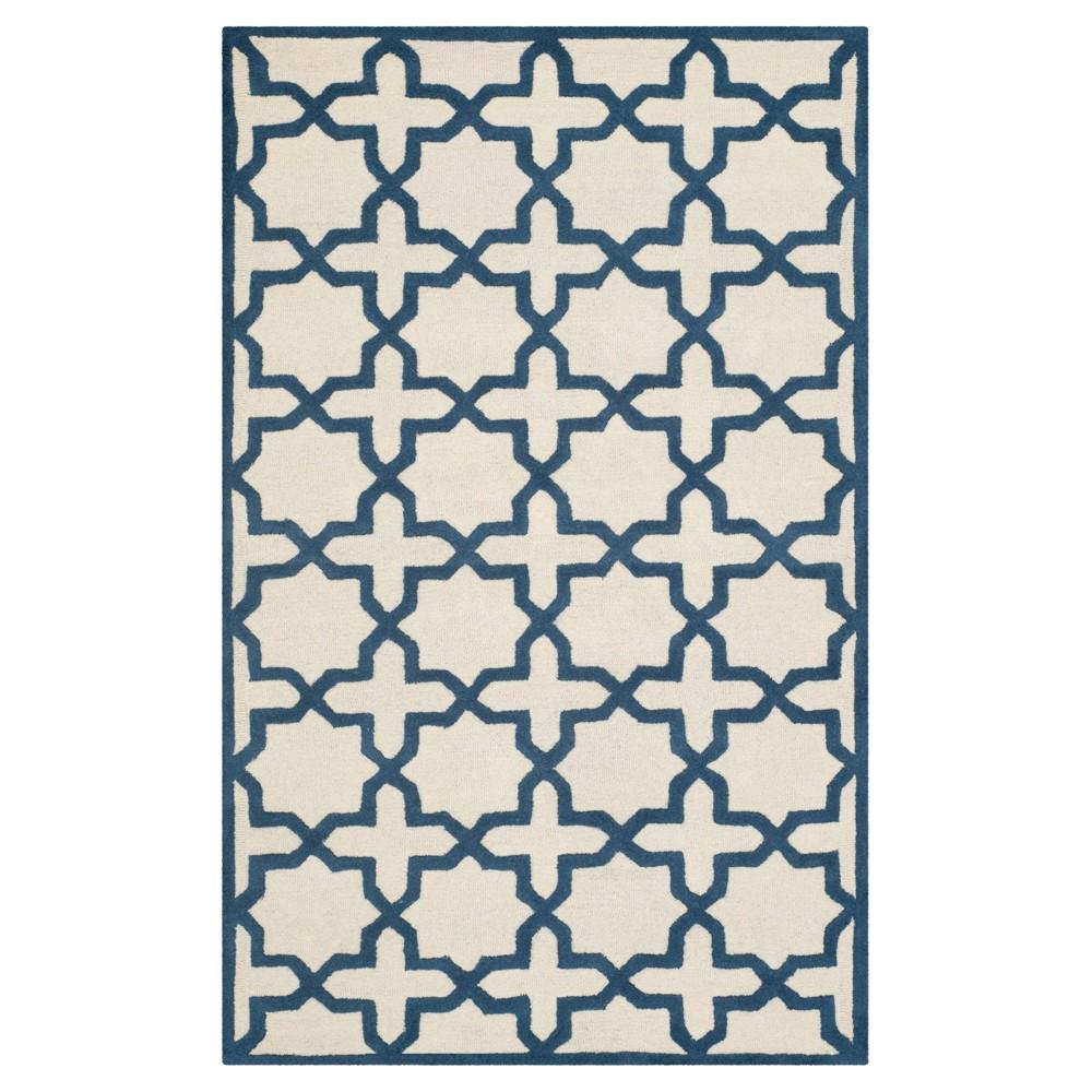 5'X8' Geometric Area Rug Ivory/Navy (Ivory/Blue) - Safavieh