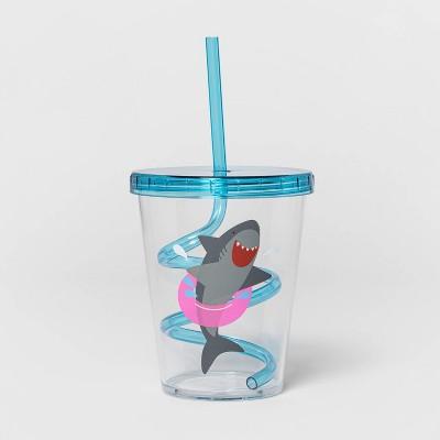 15oz Plastic Shark Tumbler with Swirly Straw Blue - Sun Squad™