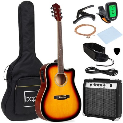 Best Choice Products Beginner Acoustic Electric Guitar Starter Set 41in w/ All Wood Cutaway Design, Case